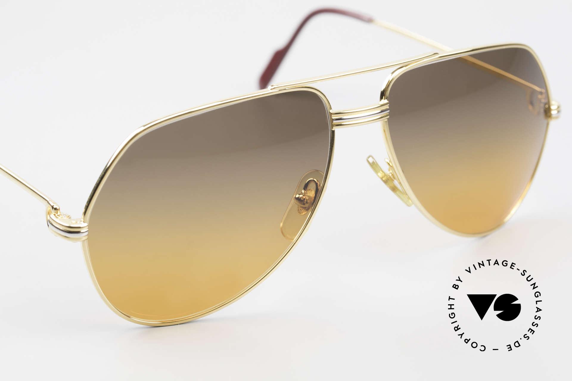Cartier Vendome LC - M Film-Sonnenbrille Wall Street, Luxus-Fassung (22kt) mit neuen Gläsern in braun/orange, Passend für Herren und Damen