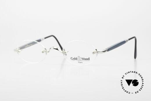 Gold & Wood 338 Luxus Randlosbrille Oval 90er Details