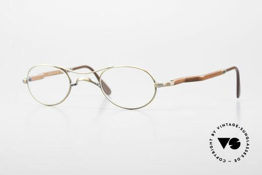Gold & Wood 352 Luxus Holzbrille Oval 1990er Details