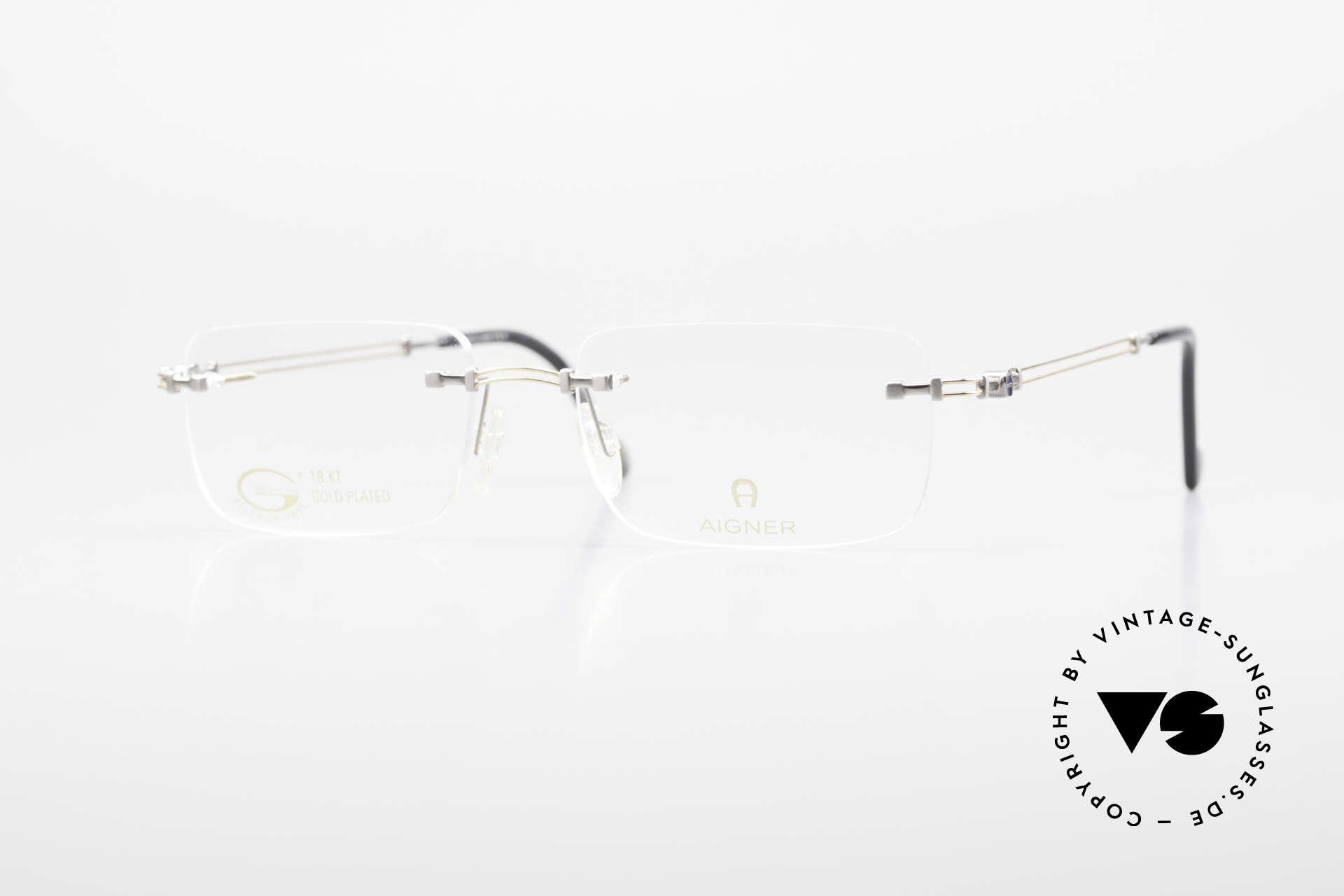 Aigner EA496 Randlose 90er Vintage Brille, randlose Aigner VINTAGE Brille, EA496, Gr. 54/18, 140, Passend für Herren