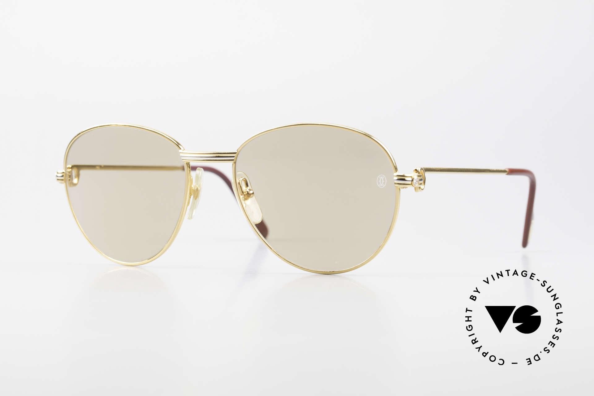 Cartier S Brillants 0,20 ct 80er Diamanten Sonnenbrille, runde Cartier Luxus-Sonnenbrille in Größe 55°18, Passend für Damen