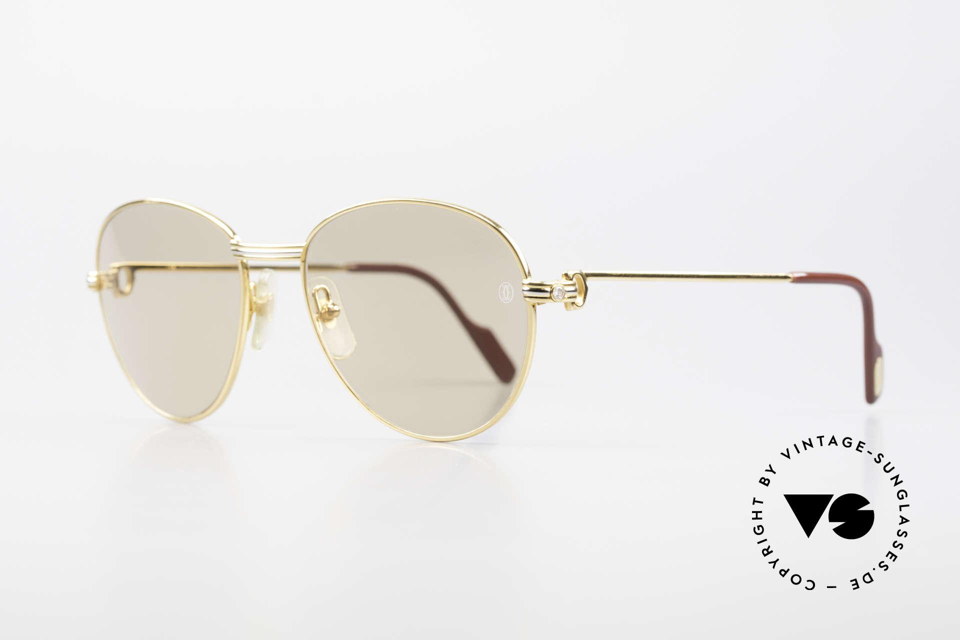 Cartier S Brillants 0,20 ct 80er Diamanten Sonnenbrille, mit echten Diamanten als Bügeldekor (insg. 0,2ct), Passend für Damen
