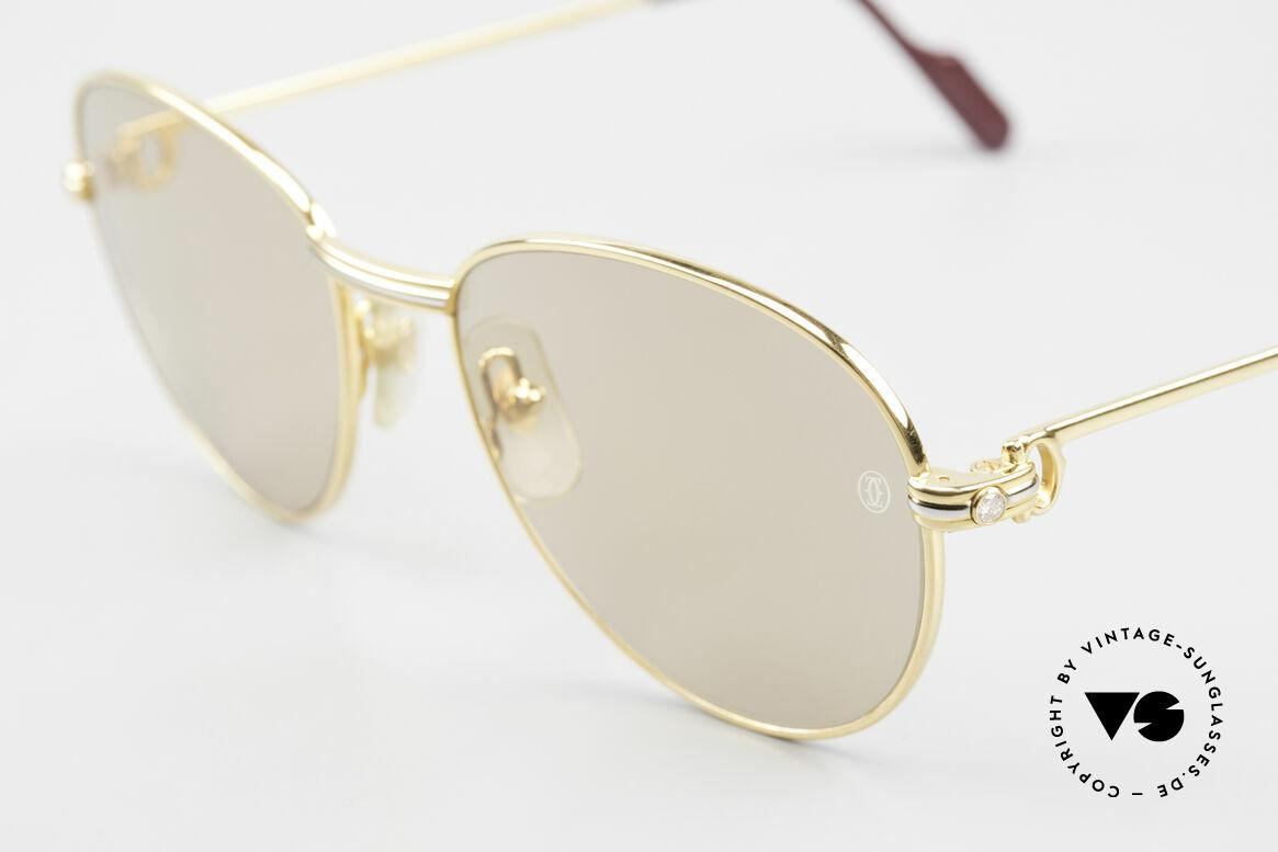 Cartier S Brillants 0,20 ct 80er Diamanten Sonnenbrille, orig. Sonnengläser mit CARTIER-Gravur, 100% UV, Passend für Damen