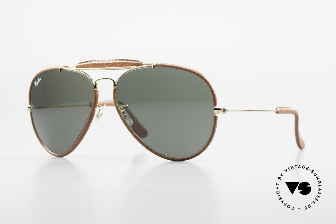 Ray Ban Outdoorsman II USA Leder Sonnenbrille 80er, alte, vintage Ray-Ban Piloten-Sonnenbrille, Gr. 62mm, Passend für Herren