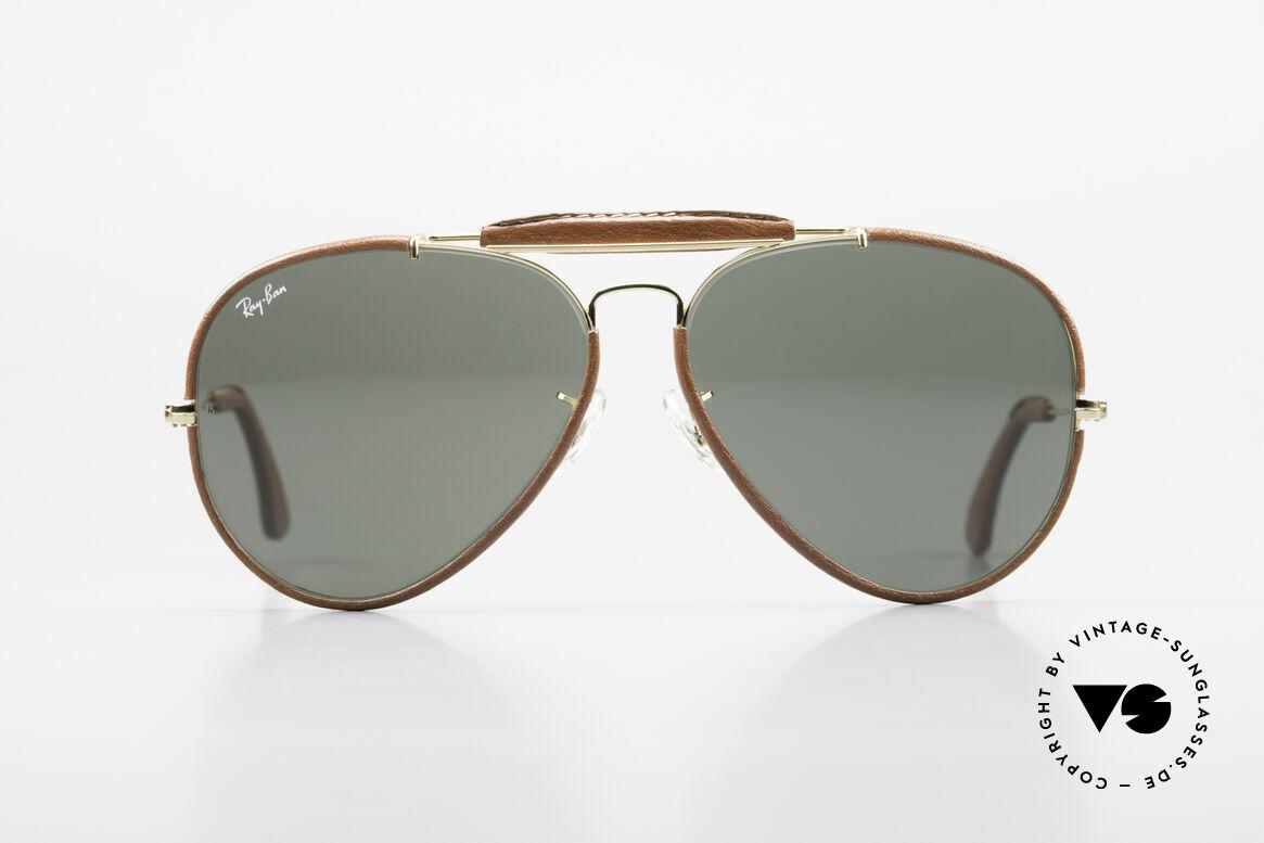 Ray Ban Outdoorsman II USA Leder Sonnenbrille 80er, seltene & sehr begehrte Leder-Edition; made in U.S.A., Passend für Herren
