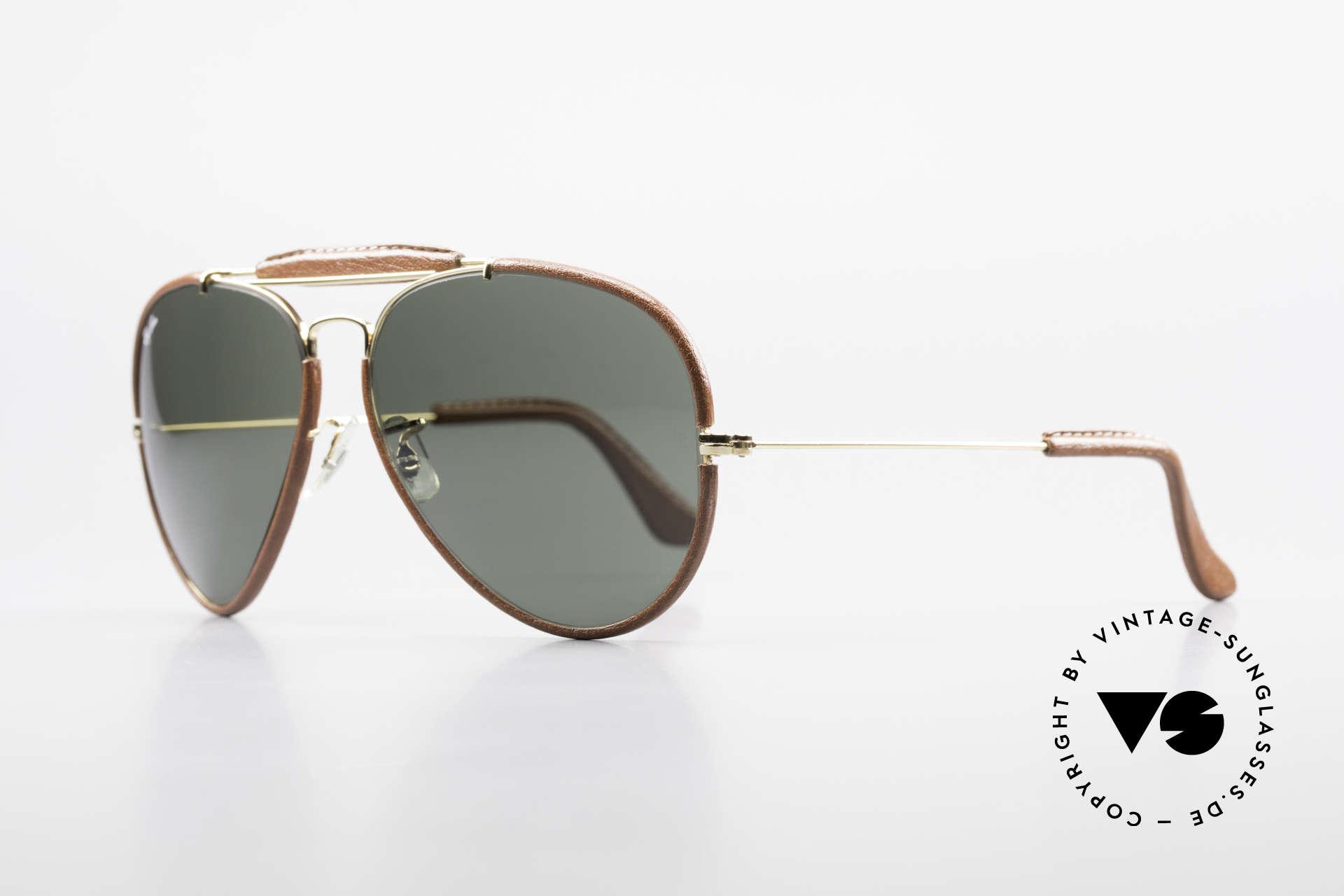 Ray Ban Outdoorsman II USA Leder Sonnenbrille 80er, mit original B&L Mineralgläsern inkl. der B&L Gravur, Passend für Herren