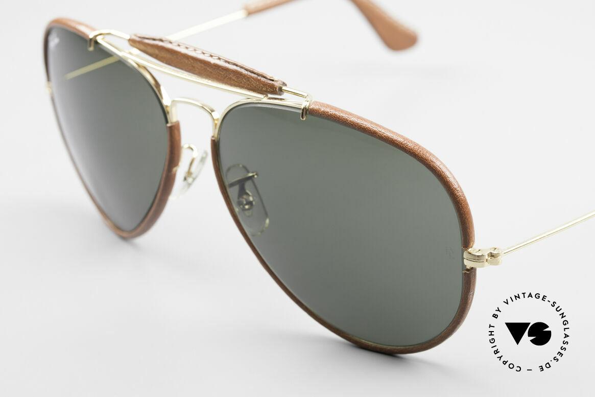 Ray Ban Outdoorsman II USA Leder Sonnenbrille 80er, ungetragenes Exemplar; inzwischen ein Sammlerstück, Passend für Herren