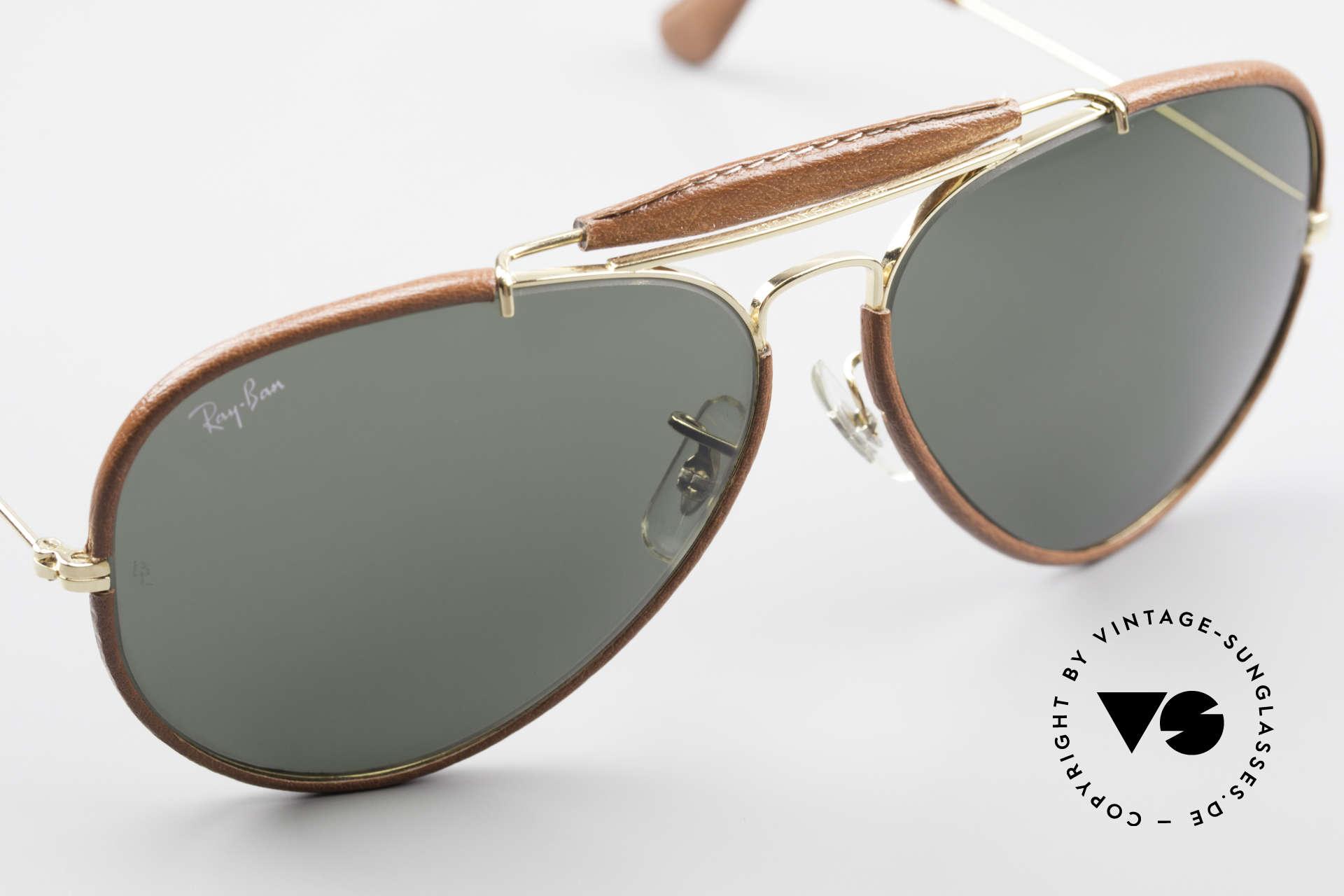 Ray Ban Outdoorsman II USA Leder Sonnenbrille 80er, KEINE Retrobrille, sondern ein kostbares 80er Original, Passend für Herren