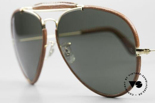 Ray Ban Outdoorsman II USA Leder Sonnenbrille 80er, vergoldete Metallkomponenten & mit orig. Ray-Ban Etui, Passend für Herren