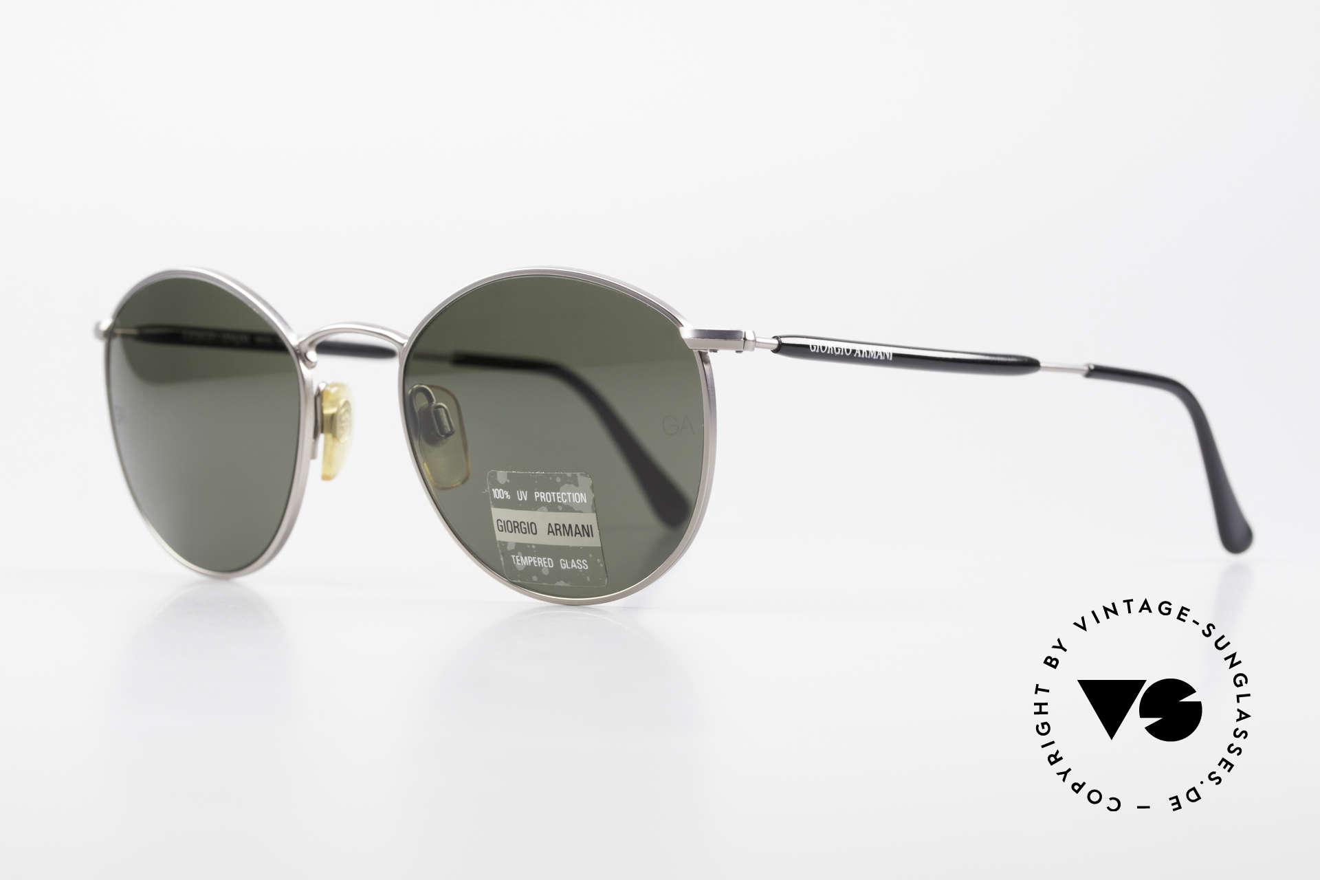 Giorgio Armani 627 Vintage Panto Sonnenbrille, TOP-Qualität und zeitlose Lackierung in gunmetal, Passend für Herren und Damen
