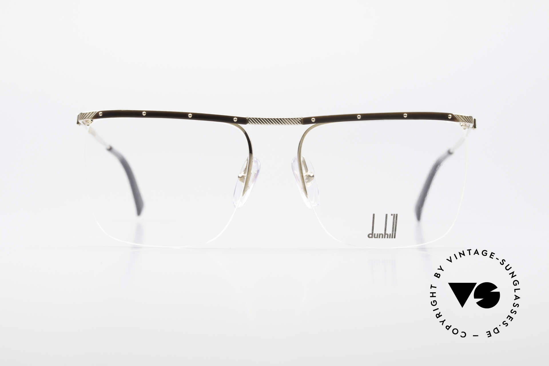 Dunhill 6056 Alte Horn Brille 80er Vintage, vergoldeter Rahmen mit Echt-Horn Elementen, Passend für Herren