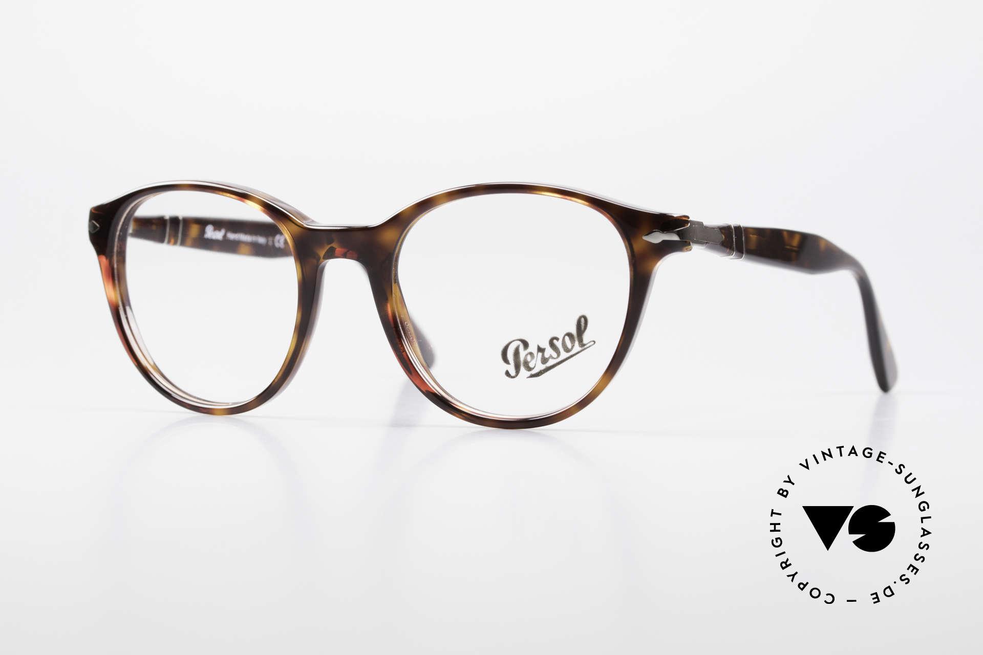 Persol 3153 Zeitlose Panto Unisex Brille, sehr elegante, PANTO Brillenfassung aus Italien, Passend für Herren und Damen