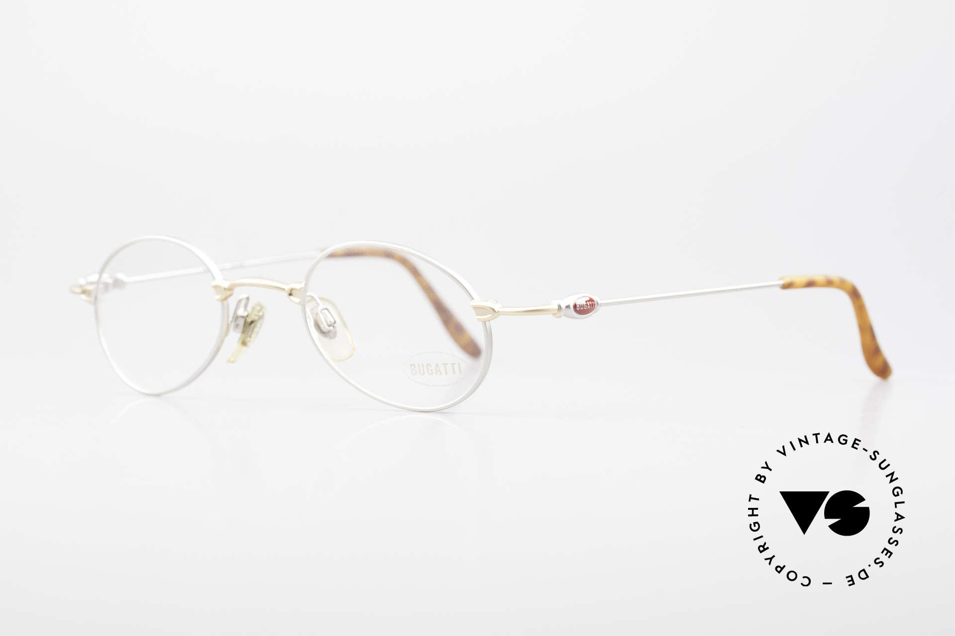Bugatti 10759 Vintage Brille Herren 90er, klassische, zeitlose Brillenform (bicolor: gold & silber), Passend für Herren