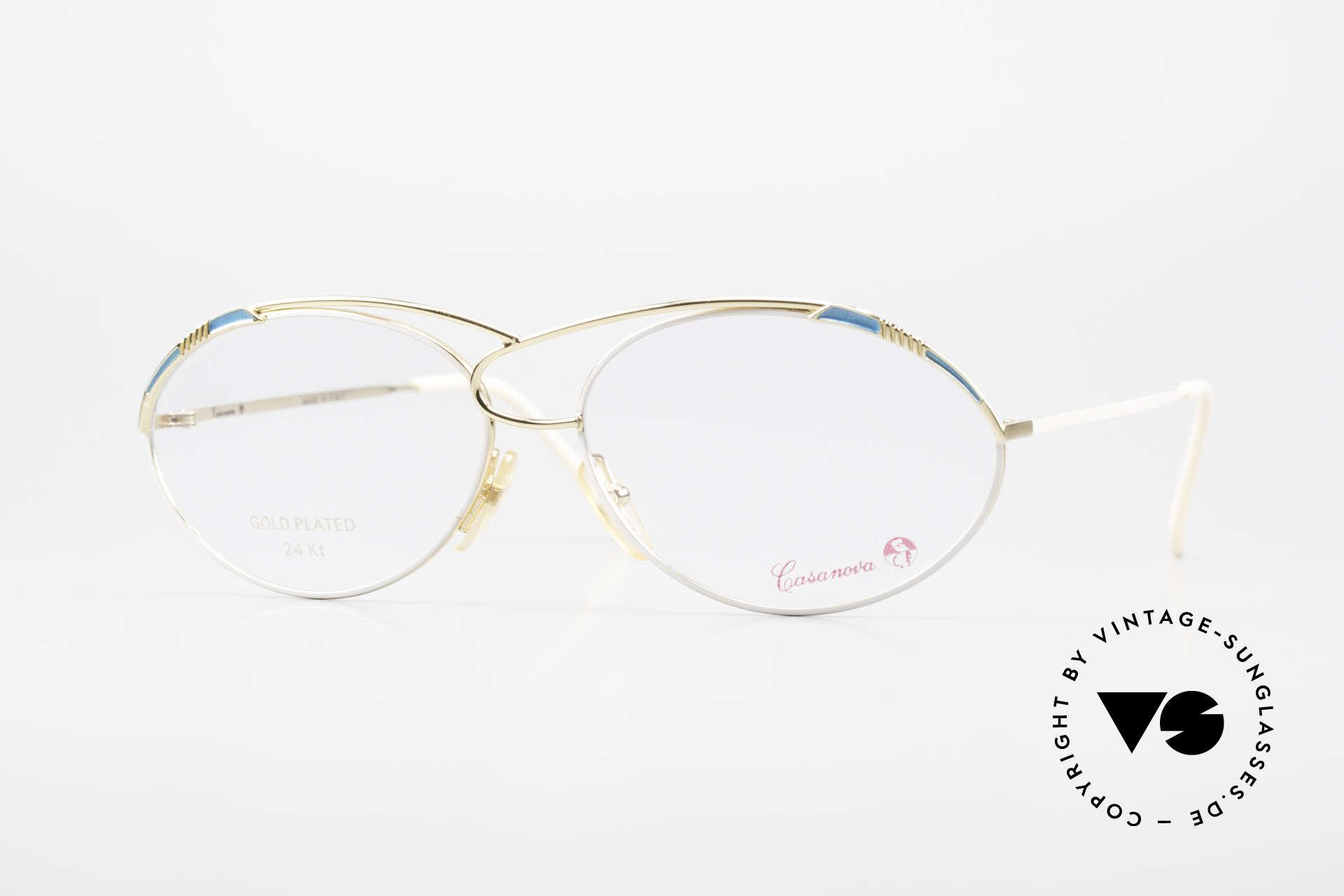 Casanova LC13 24kt Vergoldete Vintage Brille, zauberhafte CASANOVA Designerbrille von circa 1985, Passend für Damen
