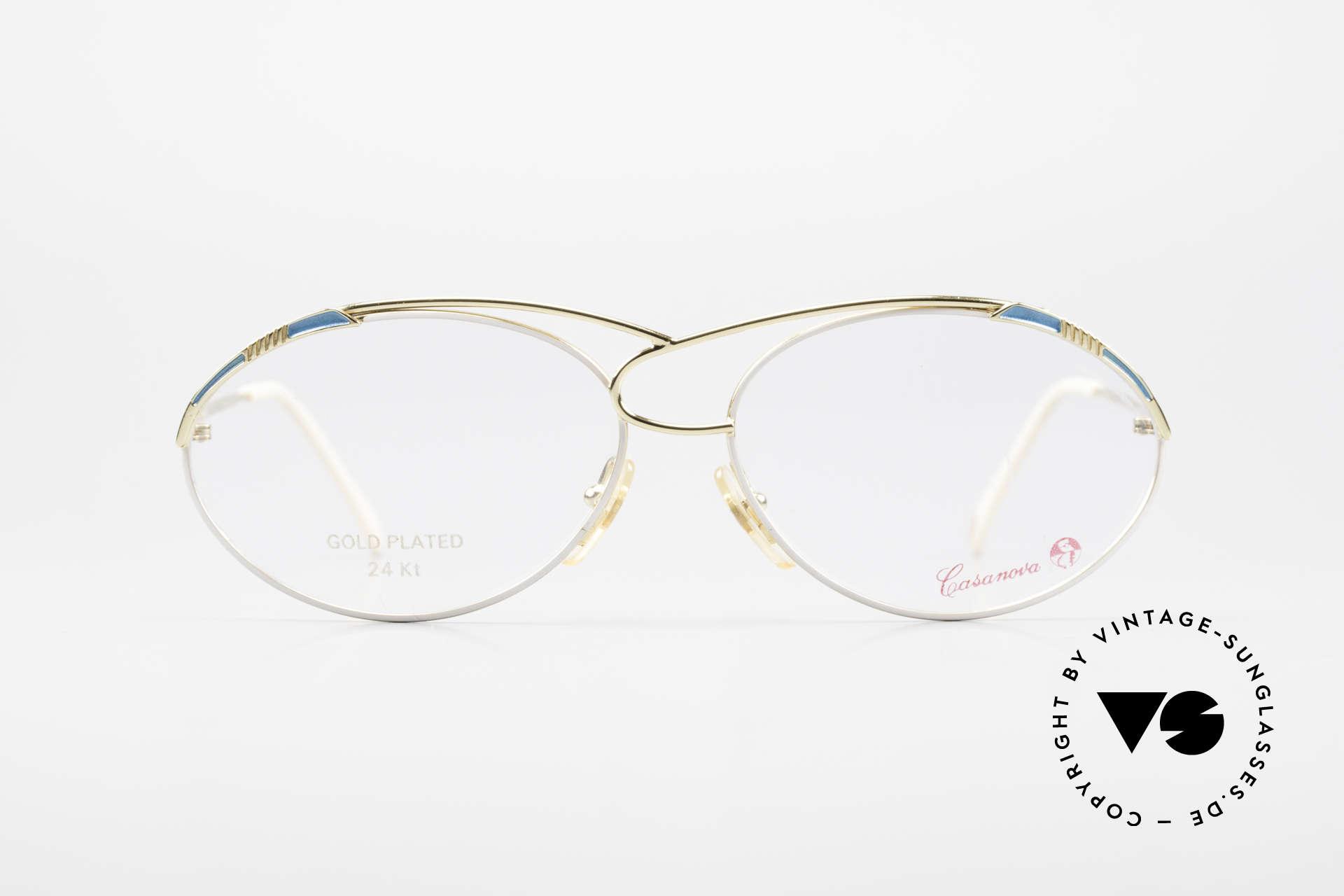 Casanova LC13 24kt Vergoldete Vintage Brille, tolles Zusammenspiel v. Farbe, Form & Funktionalität, Passend für Damen