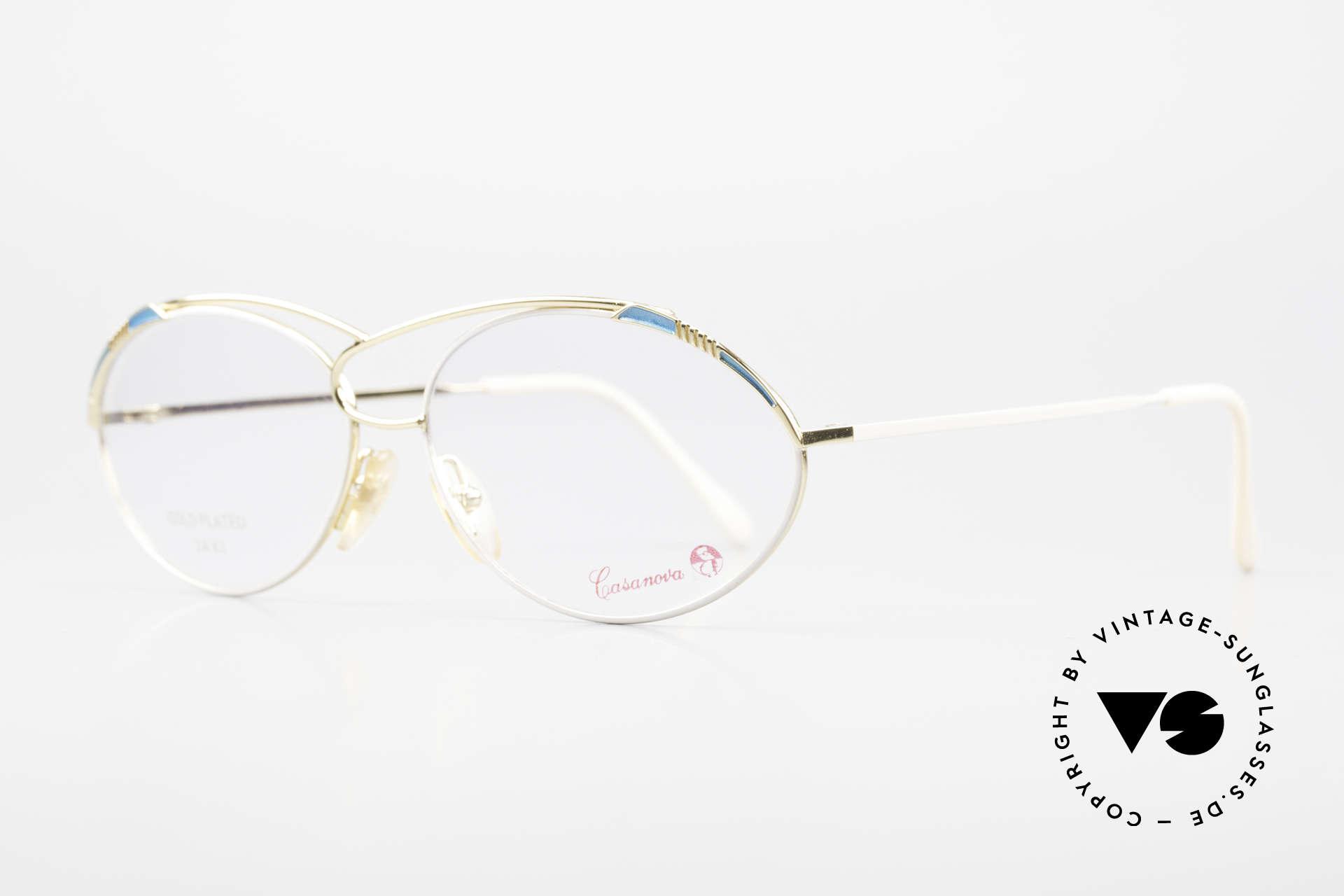 Casanova LC13 24kt Vergoldete Vintage Brille, äußerst hochwertige, 24kt vergoldete vintage Fassung, Passend für Damen