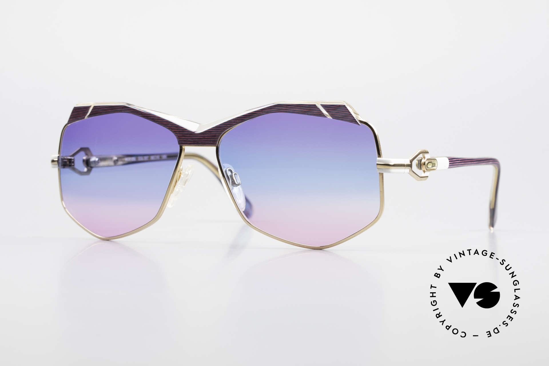Cazal 230 Bunte Cazal Sonnenbrille 80er, tolle 80er Jahre Cazal Designersonnenbrille, Passend für Damen