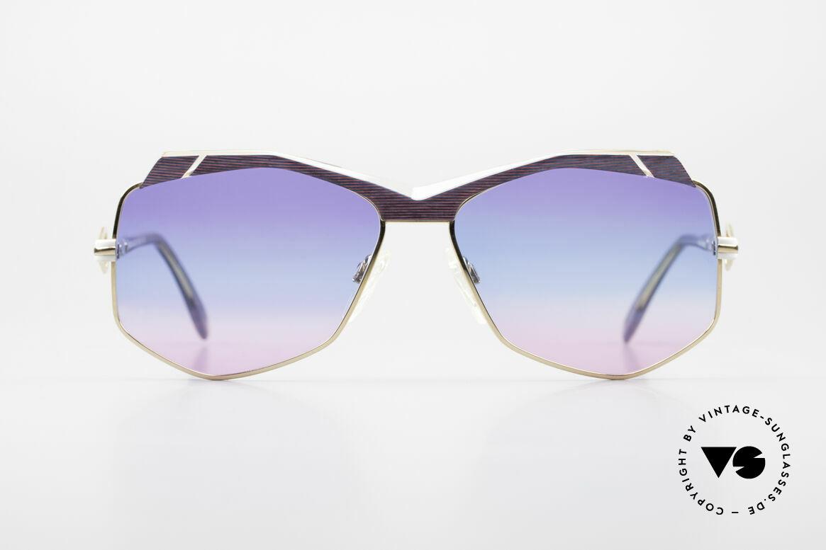 Cazal 230 Bunte Cazal Sonnenbrille 80er, außergewöhnliche, sechseckige Gläserform, Passend für Damen