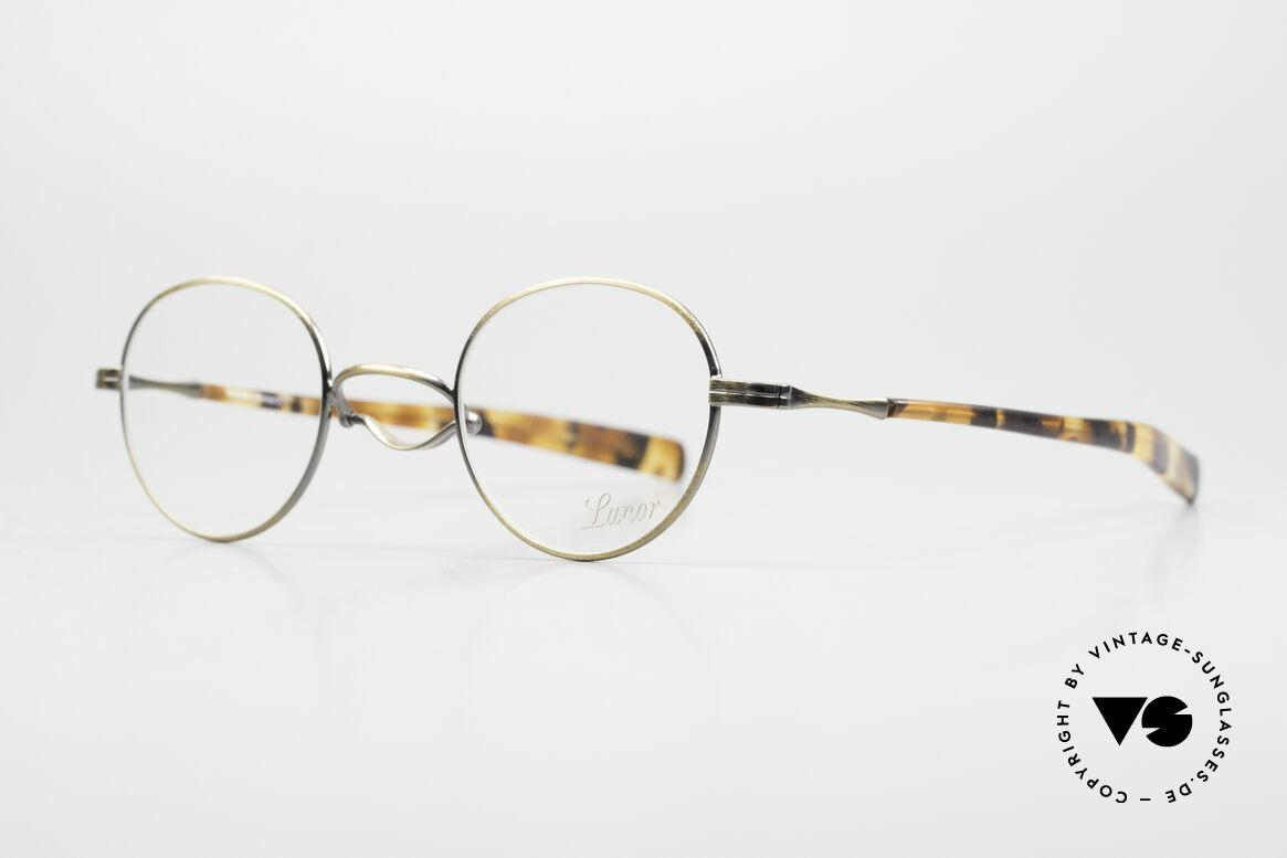 Lunor Swing A 32 Panto Vintage Brille Mit Schaukelsteg, handgefertigt in Deutschland und mit Acetatbügeln, Passend für Herren und Damen