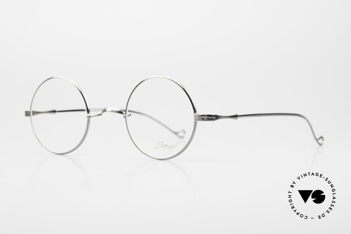 Lunor II 23 Runde Brille Antik Silber AS, kreisrunde Rahmenform (in M Gr. 42mm) mit W-Steg, Passend für Herren und Damen