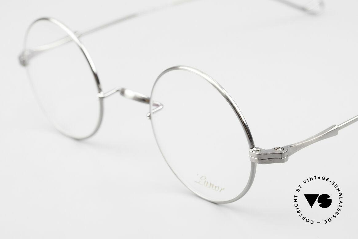 Lunor II 23 Runde Brille Antik Silber AS, edel, stilvoll, zeitlos = ein wahres LUNOR ORIGINAL, Passend für Herren und Damen