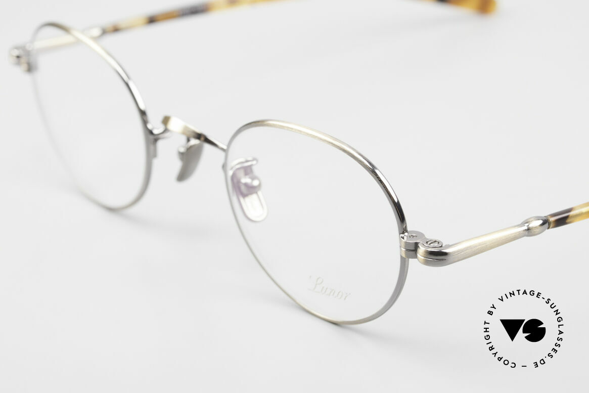 Lunor VA 108 Panto Lunor Brille Original, Modell VA 108: Bügel aus einer Acetat-Metallkombi, Passend für Herren und Damen