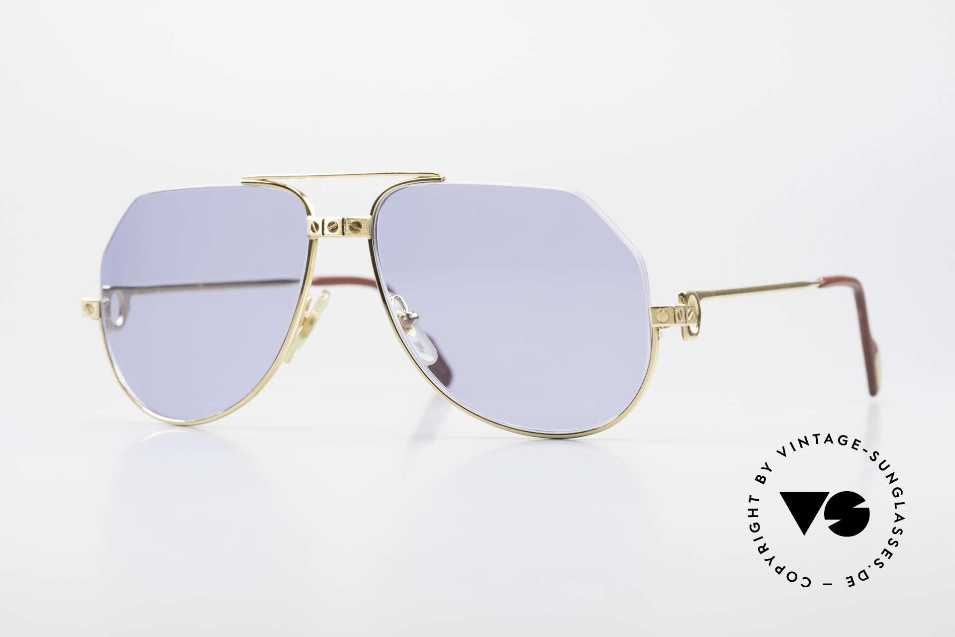 Cartier Vendome Santos - S Einzelstück Nylor Und Gold, einzigartige CARTIER Vendome Sonnenbrille in Gr. 56°14, Passend für Herren