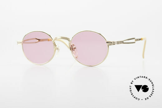 Jean Paul Gaultier 55-7107 Runde Pinke Vergoldete Brille Details