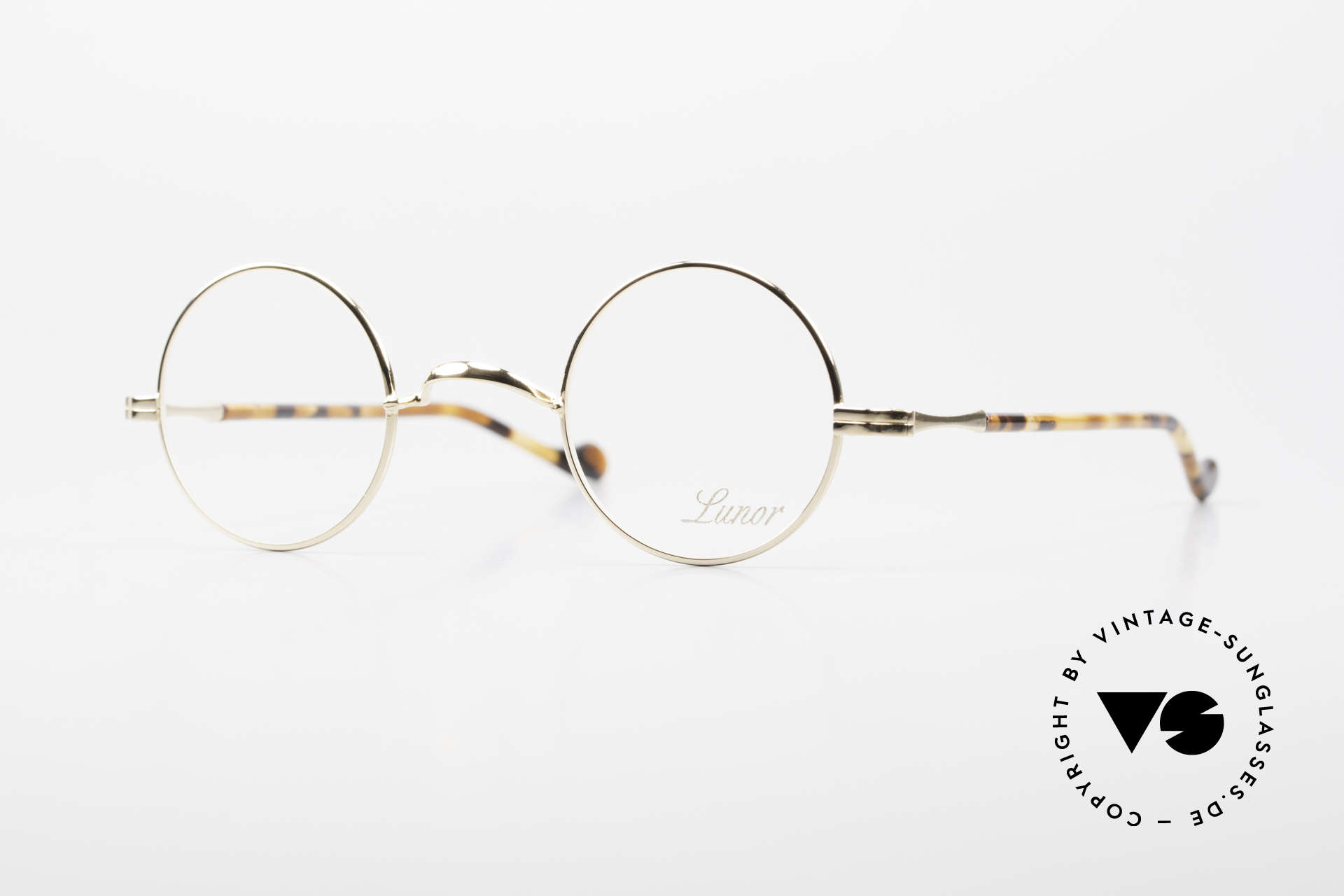 Lunor II A 12 Runde Brille 22kt Vergoldet, Lunor Brille aus der Lunor II-A Serie (A = Acetat), Passend für Herren und Damen