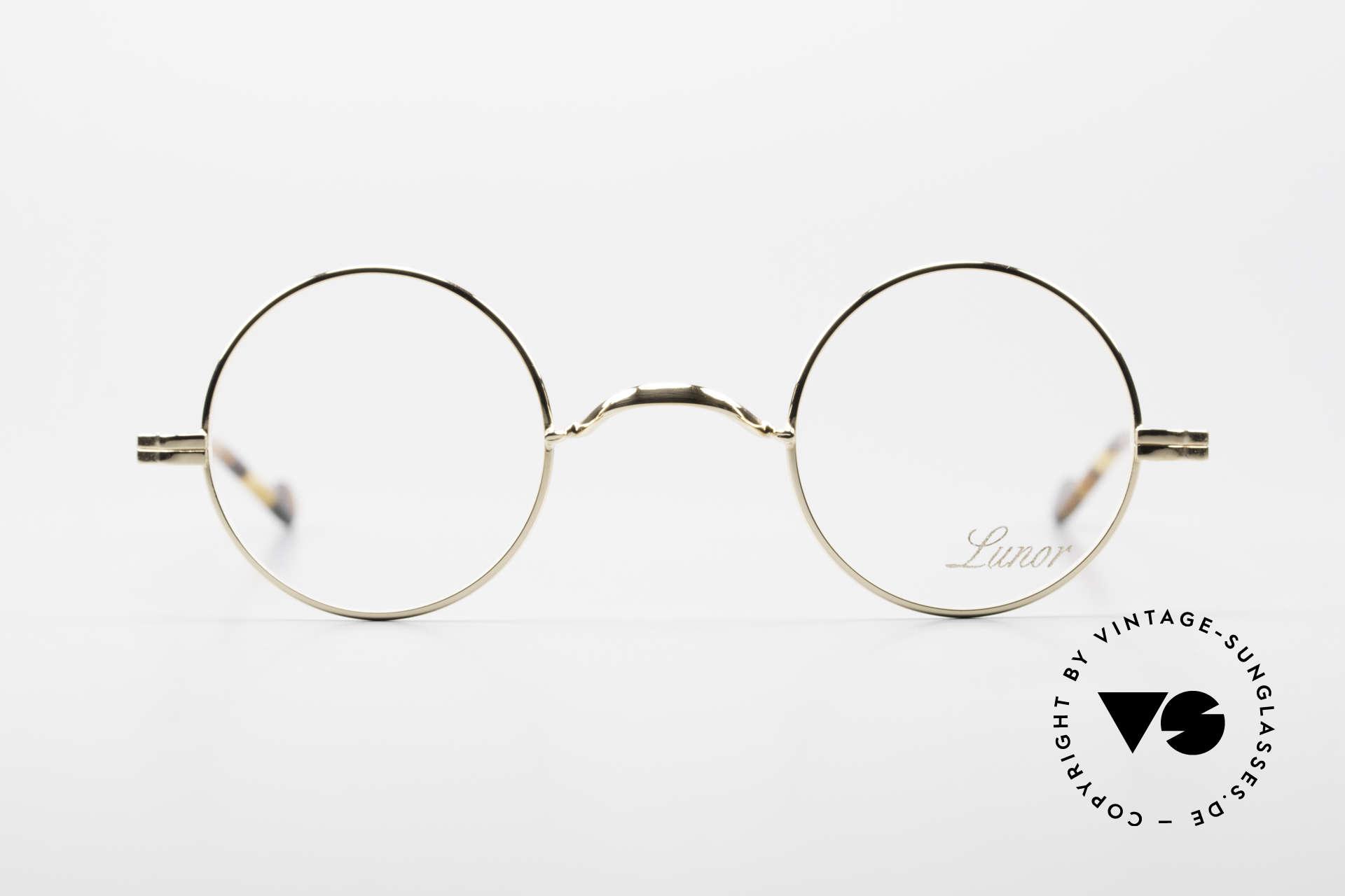 Lunor II A 12 Runde Brille 22kt Vergoldet, edle Kombination: Metallfassung mit Acetatbügeln, Passend für Herren und Damen
