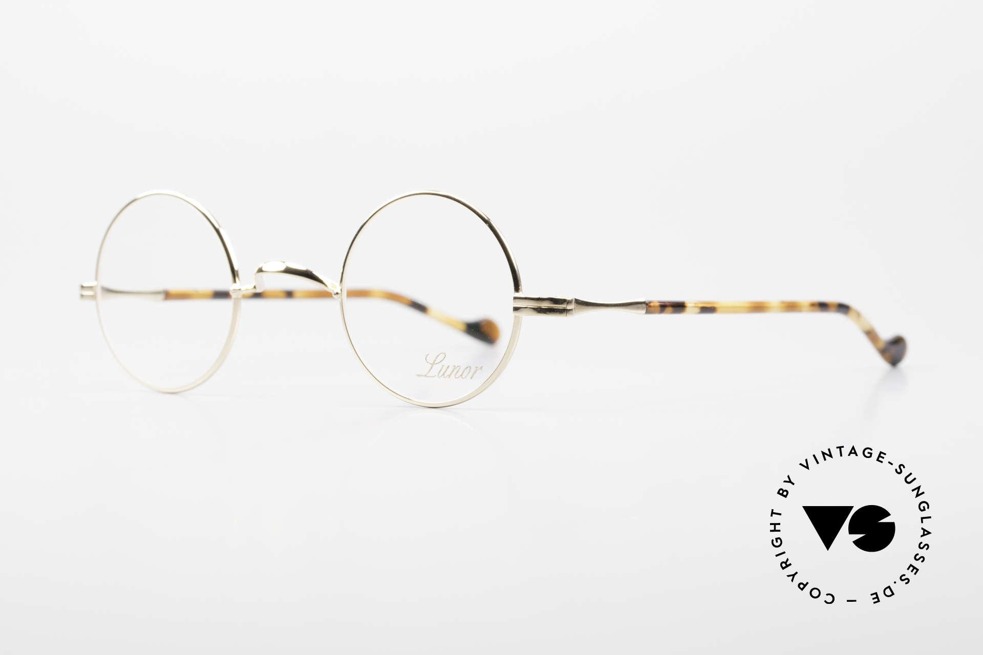 Lunor II A 12 Runde Brille 22kt Vergoldet, extrem hochwertig GP: gold-plated; TOP-Qualität!, Passend für Herren und Damen