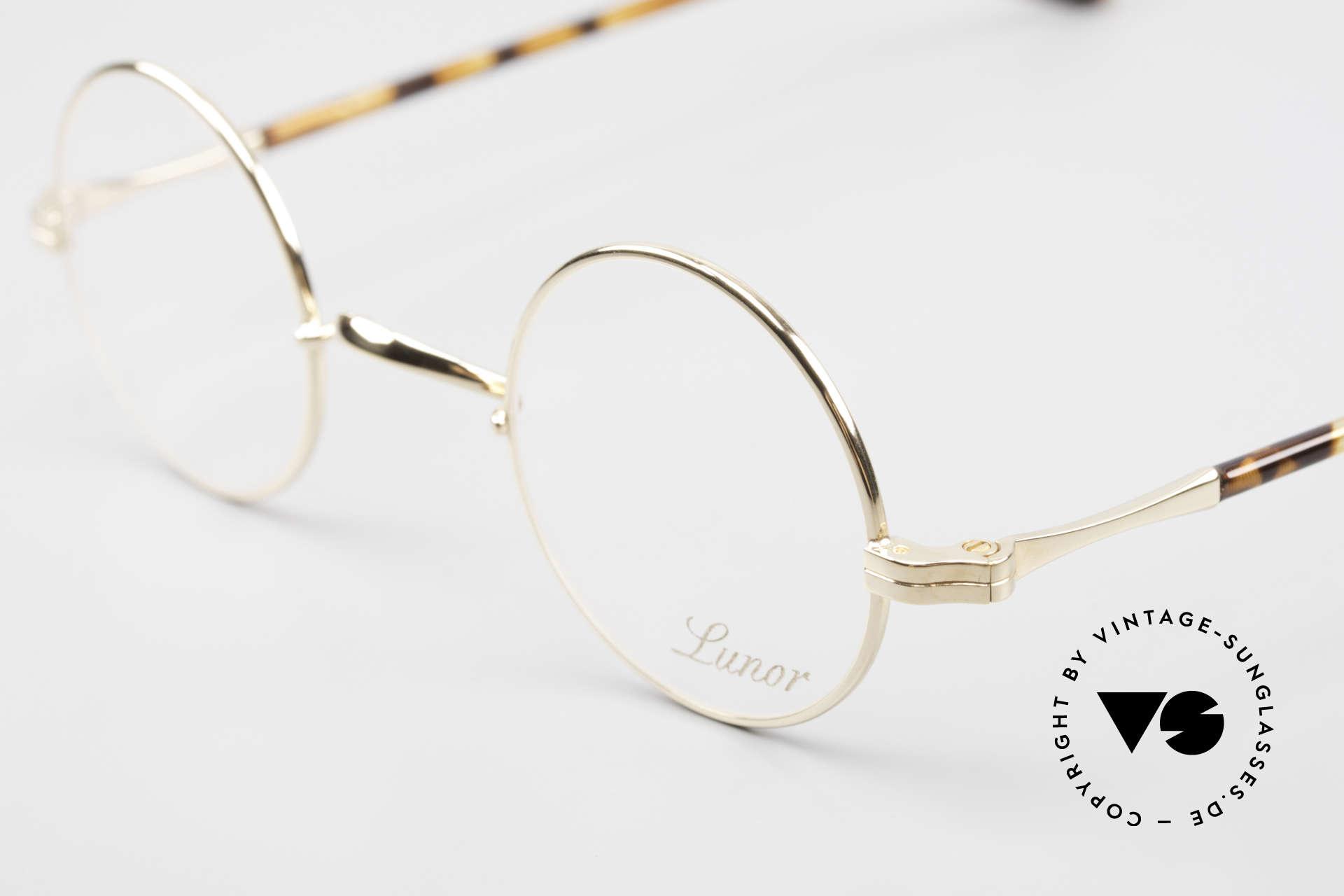 """Lunor II A 12 Runde Brille 22kt Vergoldet, hier das runde Modell """"12"""" in KLEINER Größe 38/25, Passend für Herren und Damen"""