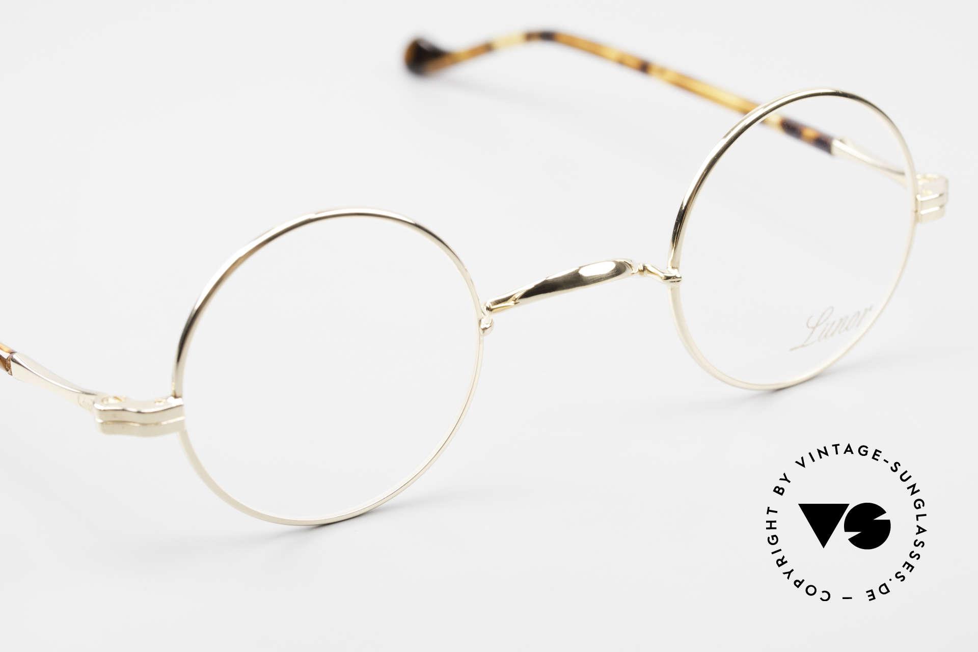 Lunor II A 12 Runde Brille 22kt Vergoldet, altes, ungetragenes LUNOR Einzelstück von ca. 2010, Passend für Herren und Damen