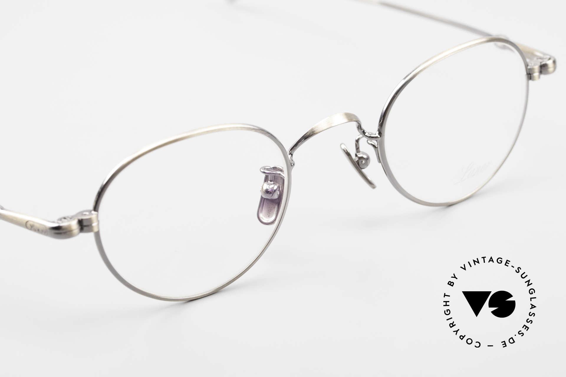Lunor V 107 Runde Panto Brille Antik Gold, absolute Top-Qualität: Nasenpads aus reinem Titan, Passend für Herren und Damen