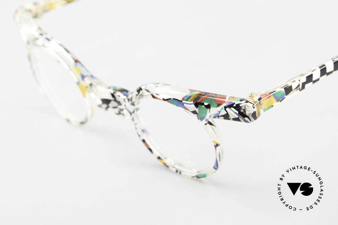 Axel S. Miracle Verrückte Vintage Brille Damen, ungetragenes Einzelstück mit buntem Rahmenmuster, Passend für Damen