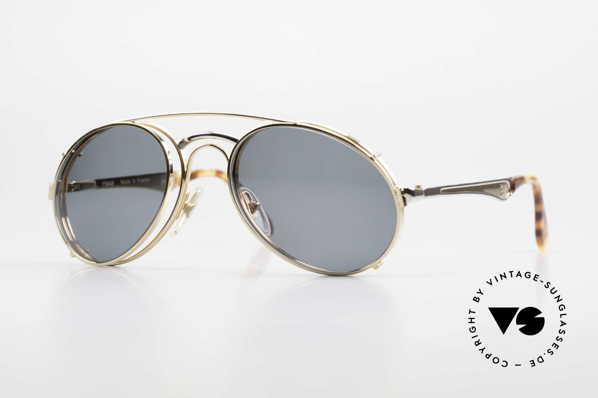 Bugatti 11948 Luxus Herrenbrille Mit Clip On, 80er vintage Herren-Brillenfassung in Gr. 52/20, Passend für Herren