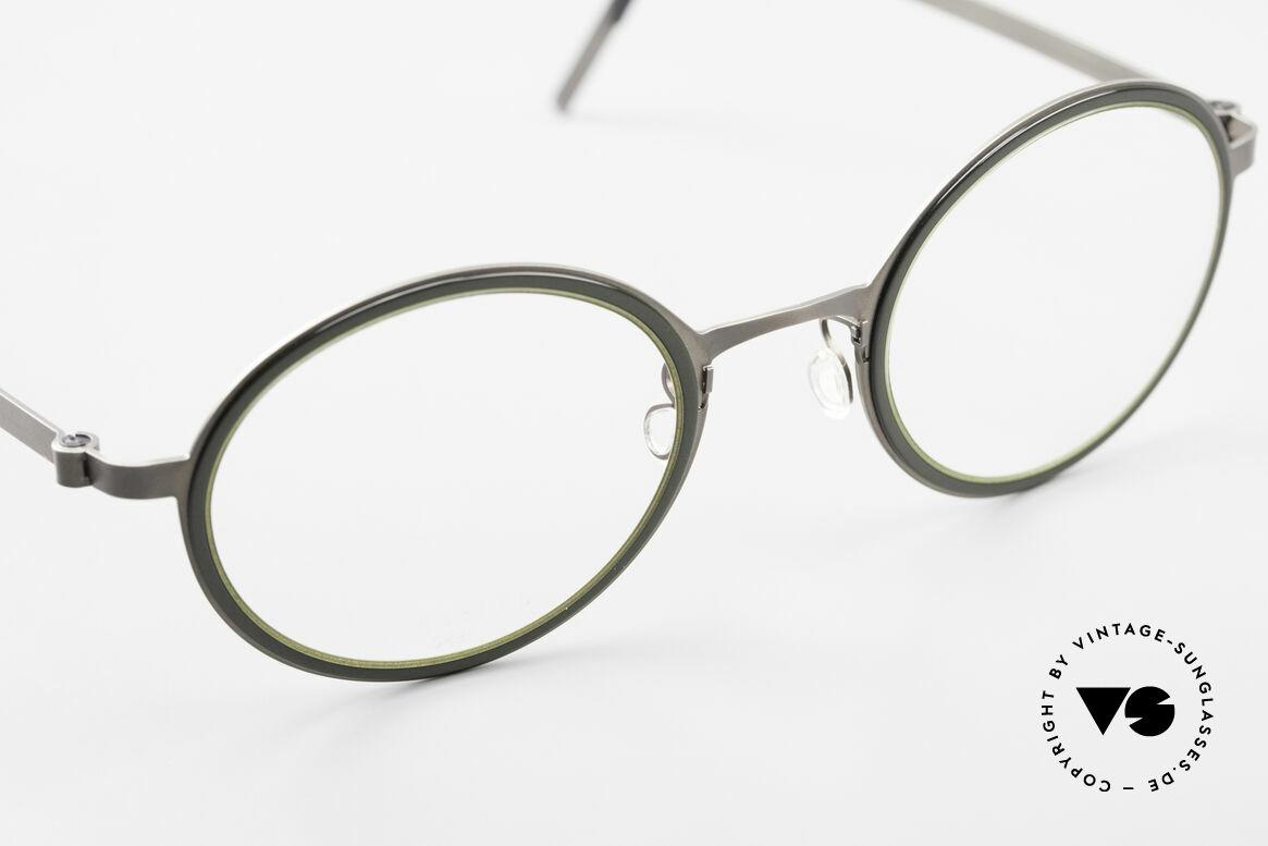 Lindberg 9707 Strip Titanium Runde Titanium Brille Unisex, ungetragenes Designerstück + orig. Lindberg Magnet-Etui, Passend für Herren und Damen