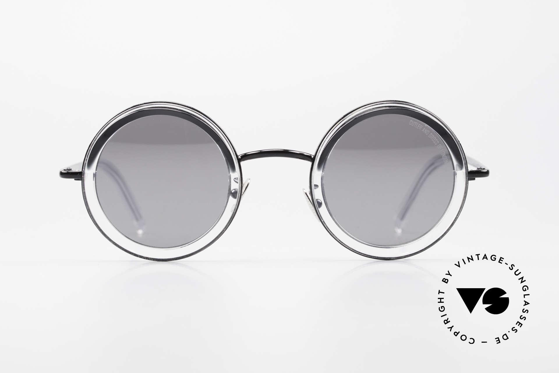 Cutler And Gross 1277 Runde Designer Sonnenbrille, runde Fassung in Farbe col. 02 (transparent / schwarz), Passend für Herren und Damen