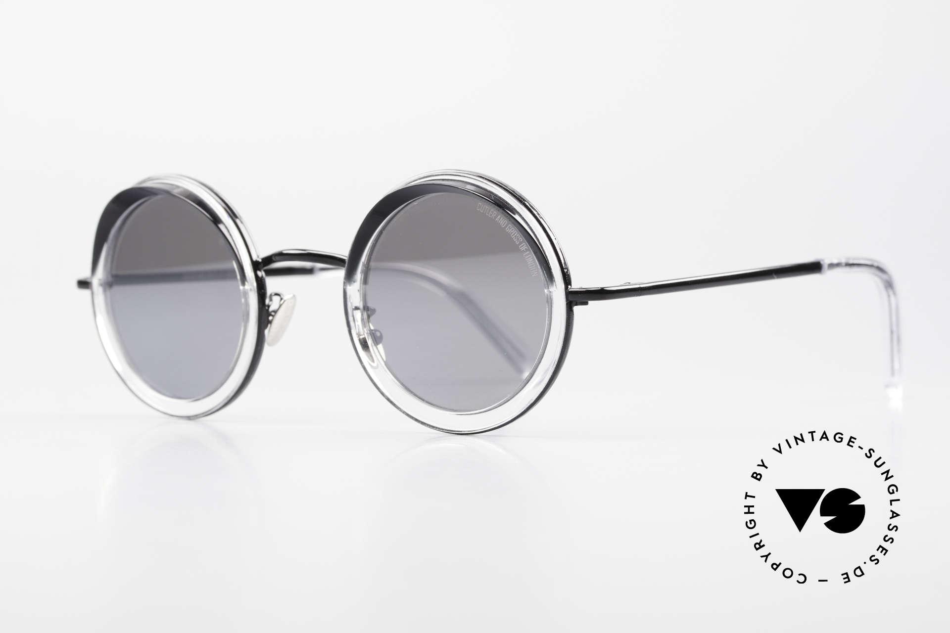 Cutler And Gross 1277 Runde Designer Sonnenbrille, silber verspiegelte Gläser (100% UV); in Größe 44/28, Passend für Herren und Damen