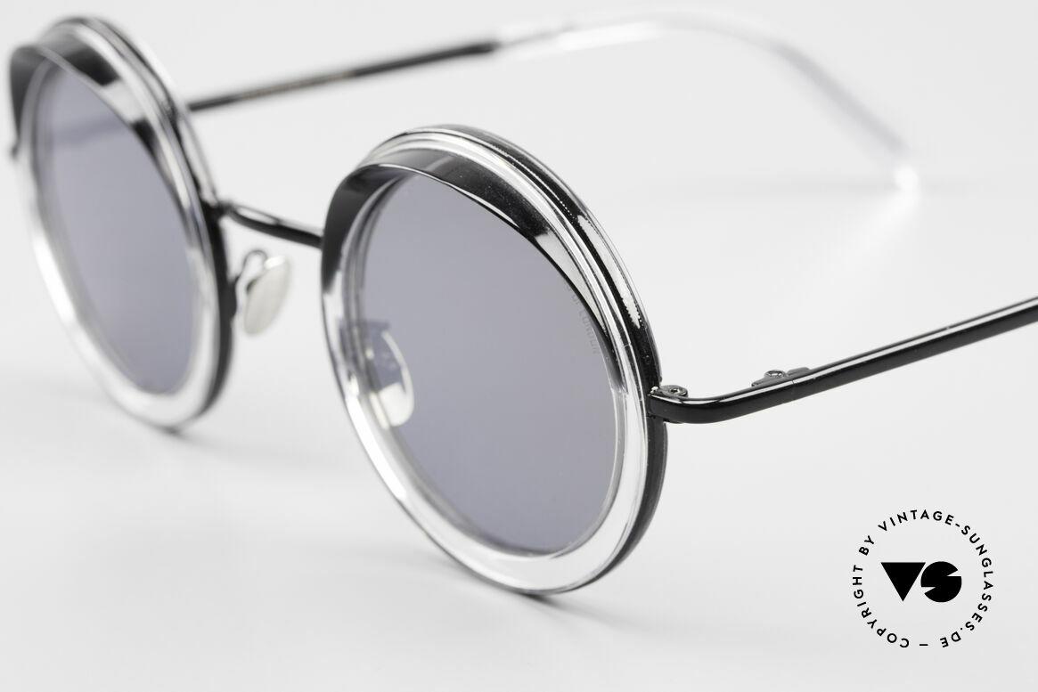 Cutler And Gross 1277 Runde Designer Sonnenbrille, klassisch und zeitlos mit kleinen Blenden am Oberrand, Passend für Herren und Damen