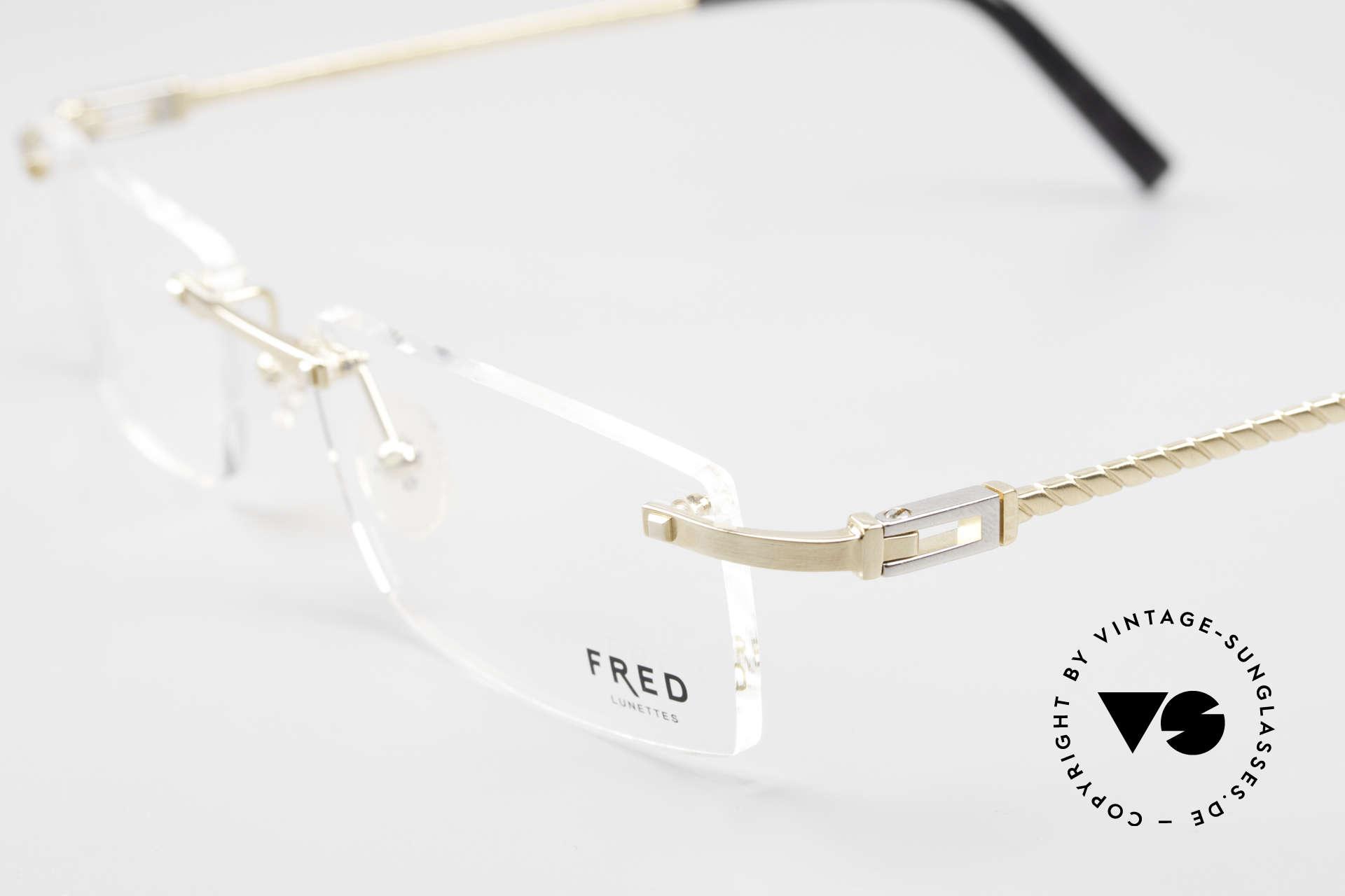 Fred Samoa Randlose Luxusbrille Segler, vergoldete Fassung mit Platin-Scharnieren (Luxusbrille), Passend für Herren