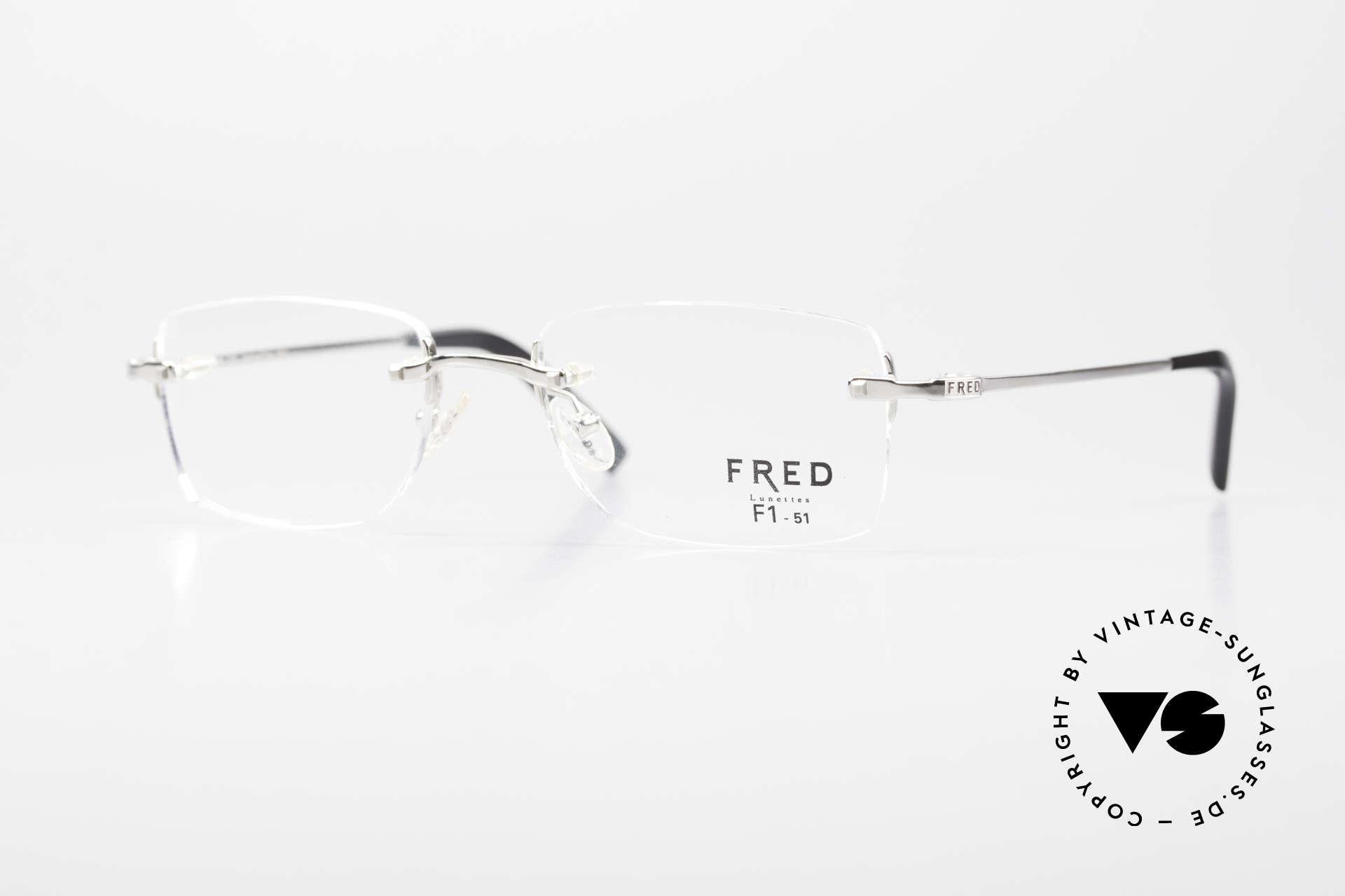 Fred Manhattan Randlosbrille Luxus Platinum, original Fred Brille, Modell Manhattan, in Größe 51-19, Passend für Herren und Damen