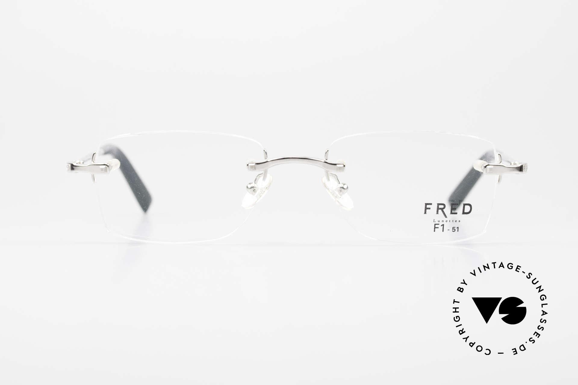 Fred Manhattan Randlosbrille Luxus Platinum, Fred F1 51: kostbare Platin-Legierung in TOP-Qualität, Passend für Herren und Damen
