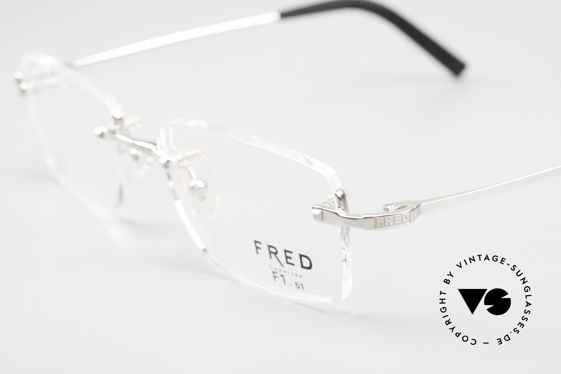 Fred Manhattan Randlosbrille Luxus Platinum, ungetragenes Original mit original Verpackung von Fred, Passend für Herren und Damen
