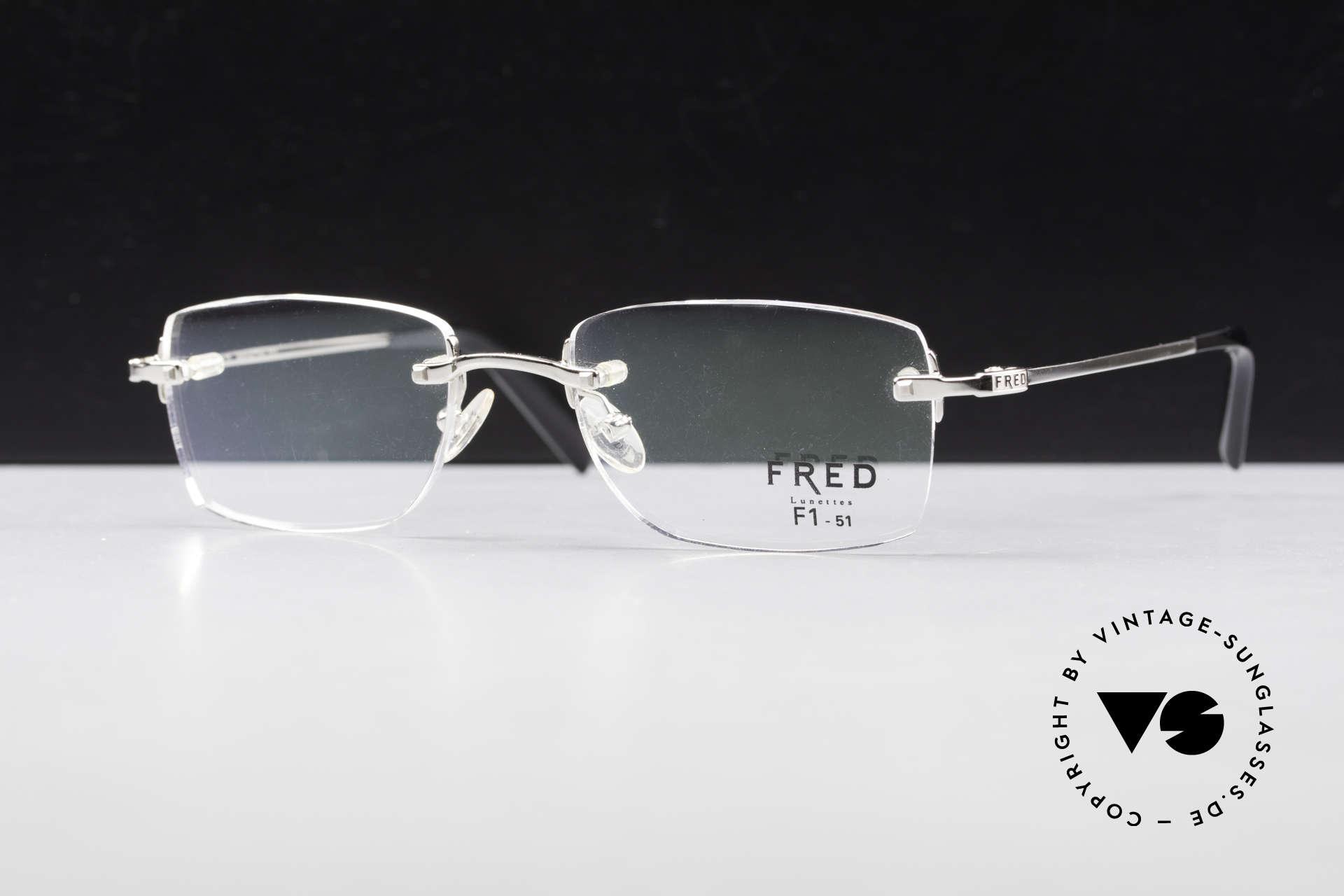 Fred Manhattan Randlosbrille Luxus Platinum, Größe: medium, Passend für Herren und Damen