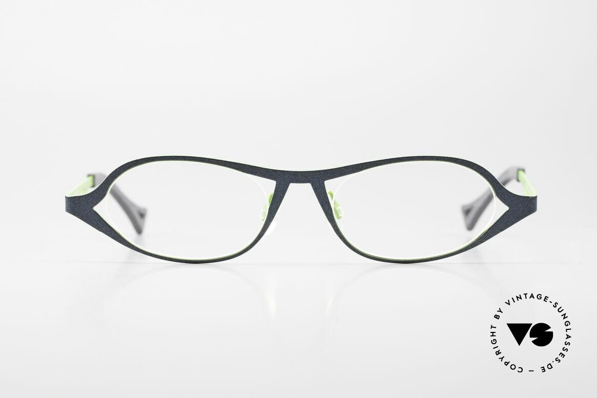 Theo Belgium Obligation Damenbrille Vintage Titanium, schwungvolles Rahmendesign in dunkelblau & grün, Passend für Damen