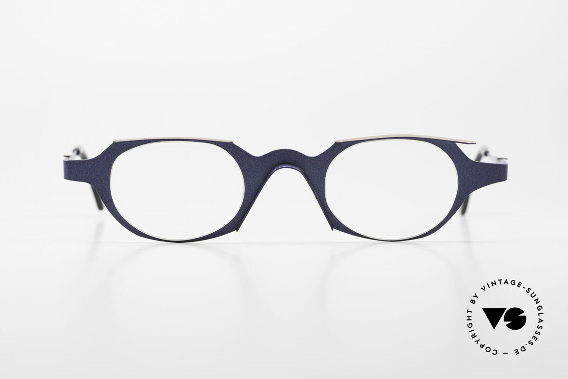 Theo Belgium Eye-Witness OB Avantgarde Damenbrille 90er, sehr interessante vintage Designerbrille in dunkelblau, Passend für Damen
