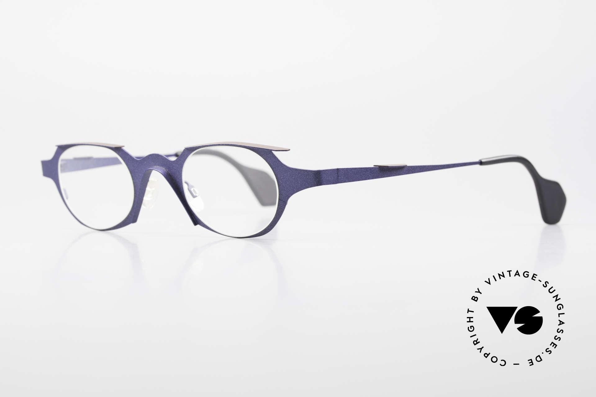 "Theo Belgium Eye-Witness OB Avantgarde Damenbrille 90er, Eye-Witness kam 1995 als ""unvollendet"" & asymmetrisch, Passend für Damen"
