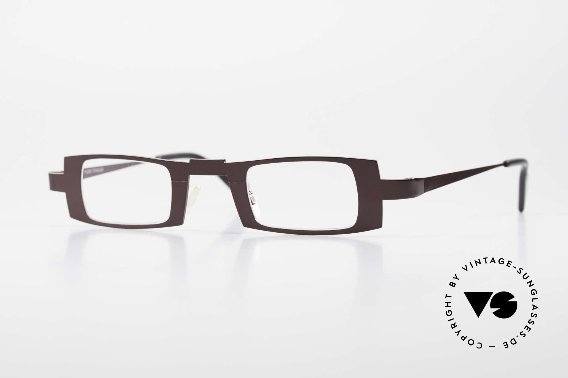 Theo Belgium Michael Eckige Titanium Brille Weinrot, Pure Titanium Designer Brillenfassung; Theo Belgium, Passend für Herren und Damen