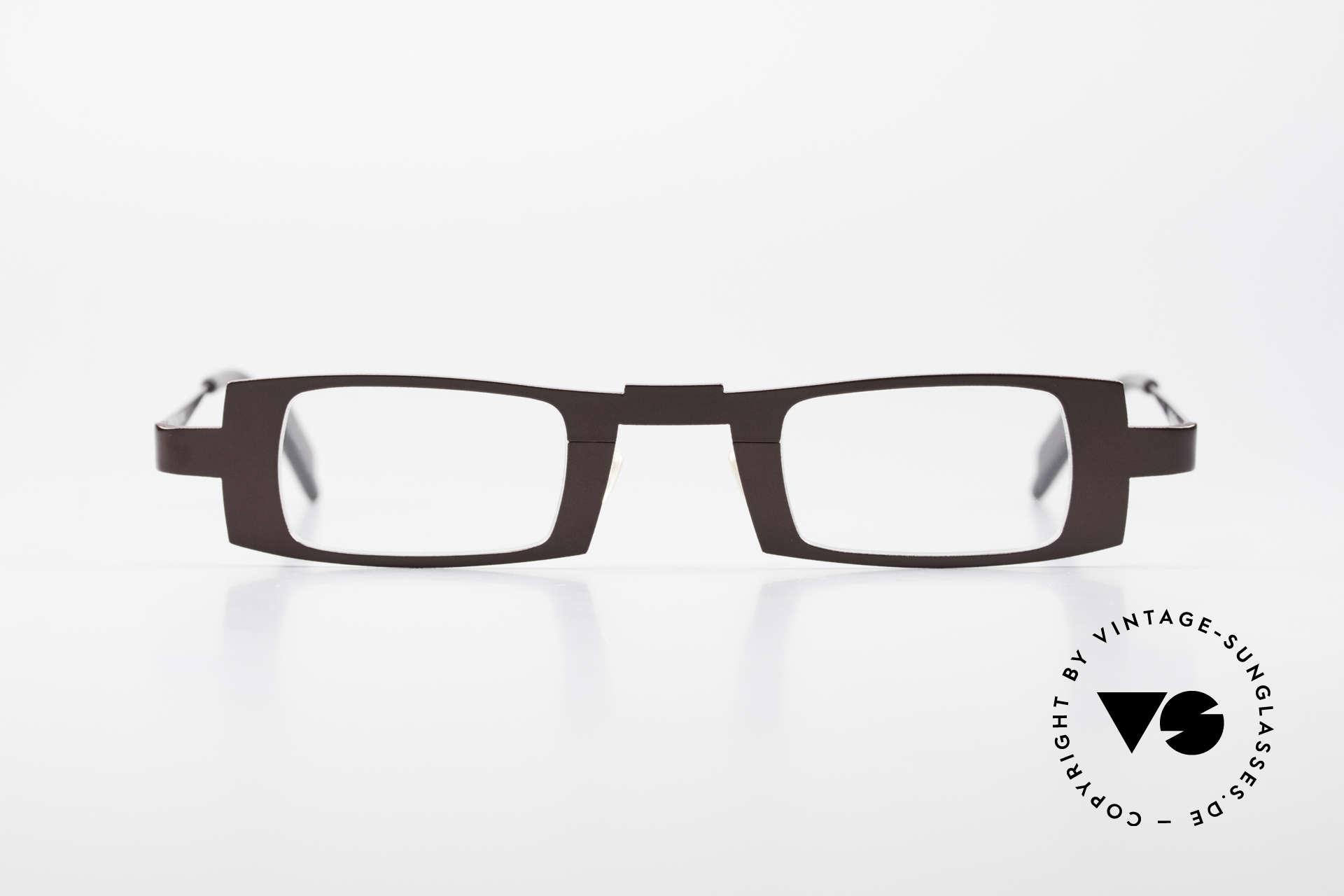 Theo Belgium Michael Eckige Titanium Brille Weinrot, sehr markantes Design in interessanter Farbe: weinrot, Passend für Herren und Damen